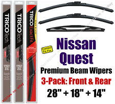 Wipers 3pk Premium Front Special Rear- fits 2004-2009 Nissan Quest 19280/180/14D