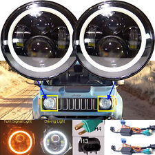 "2xFor Jeep Renegade 7""Round Angel Eyes LED Projector Headlight High/Low Beam DRL"