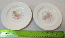 Edwin M Knowles Semi Vitreous China Set of 2 Dessert Plates w/ Pink Roses