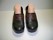 Dansko Women's Pavan Black/ Brown Leather Professional Clogs 8.5/9 M US Eu 39