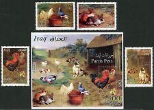 Irak Iraq 2016 Haustiere Bauernhof Hühner Hasen Hund Katze Tauben Pets MNH