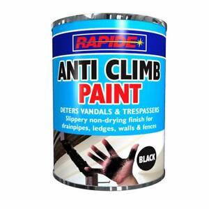 1 x 500ml Tin ANTI CLIMB PAINT BLACK Slippery Non-Drying Deters Vandals etc
