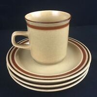 VTG Set of 1 Cup and 3 Saucers Newcor Romantic Stoneware 152 Brown Bands Japan