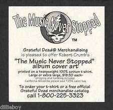 Grateful Dead Promo Flyer Robert Crumb Music Never Stopped Album Art
