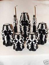 7PC CUSTOM BLACK HAND CARVED UNITY CANDLE WEDDING SET