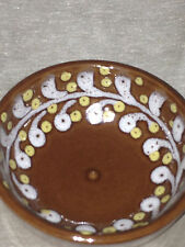 "GMUNDNER KERAMIK AUSTRIA 3.5"" SMALL BROWN DIPPING BOWL YELLOW DOTS WHITE SCROLLS"