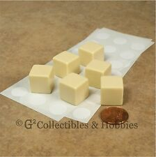 NEW Set of 6 Blank Dice - 16mm Ivory - RPG Game D&D D6
