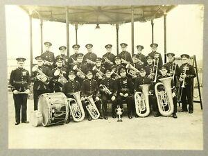 Antique b/w Photograph SEVENOAKS Town Brass Band on Gazebo & Trophy