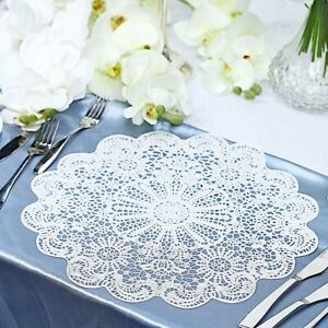 """6 WHITE 15"""" wide Flower Lace Doily Round Vinyl Placemats Wedding Decorations"""