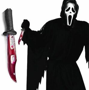 Mens Official Scream  Halloween Costume Ghost Face With Bleeding Knife
