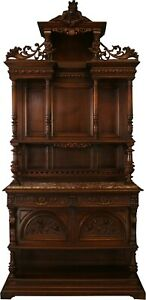 ANTIQUE FRENCH BUFFET RENAISSANCE STYLE  SUPERB CARVED WALNUT  JESTER FI
