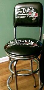 VINTAGE VON DUTCH custom Garage Shop Stool 360-Degree Swivel Dual Foot Ring