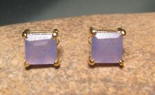14K Gold plated brass cut sapphire 7mm conundrum stud earrings. Gift bag.