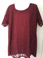 Bella moda size 24-26 burgundy sparkly short sleeve lace front/sleeves lined top