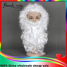 White Curly Santa Beard And Wig Set Christmas Santa Claus Costume Cosplay Wig