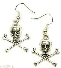 Hand Made Silver Colour Mini Skull & Cross Bones Earrings HCE365