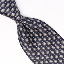 NWT $230 BRIONI Slim Satin Silk Tie Brown-Sky Blue Jewel Medallion Print