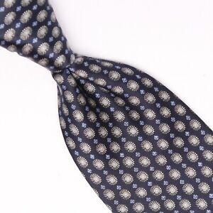 Brioni Mens Silk Necktie Navy Light Blue Champagne Geometric Print Satin Smooth