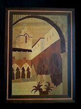 """Vintage wood inlay picture of old church mission 15.5"""" by 11.5"""""""