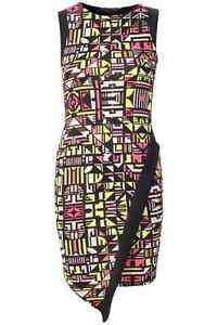 Womens Ladies Neon Short Sexy Print Asymmetric Bodycon Dress 8 Party Clubbing