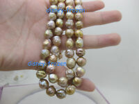 "18"" AAA 10-11mm natural south sea multicolor baroque pearl necklace 14k"