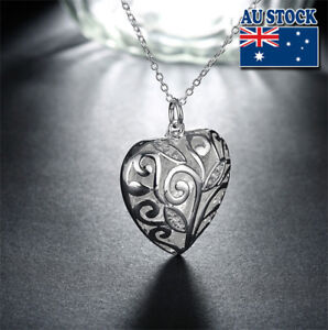 Wholesale 925 Sterling Silver Filled Hollow Love Heart Pendant Necklace Gift