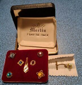 Vintage Merlin 7 Day Tie Tack set, (tie pins) with original box