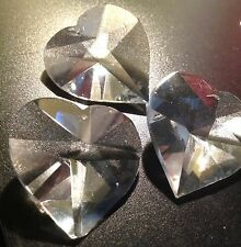 Heart Shaped Glass Crystal one hole at top 40mm  10PCS (P22J)