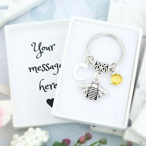 Bee Keyring, Personalised Gift, Bee Gifts, Cute Bumble Bee Charm, Queen Bee
