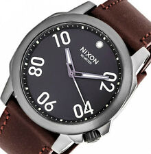 $175 NIXON Mens The Ranger 45 Brown Leather Stainless Steel Watch A4661099 NEW