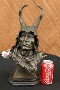 Native American Art Indian Chief Headdress Bronze Bust Sculpture Statue 15 LBS