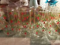 "Libbey Christmas Glass Bells Holly Tumbler 8 Oz 5"" Vintage"