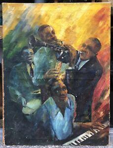 Tableau Huile Portrait Musiciens Jazz Percussions Clavier Clarinette Saxo XX