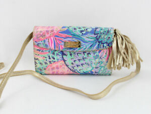 Lilly Pulitzer NWT Periwinkle Pink Gold Print Paradise Bahama Crossbody Bag