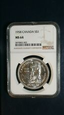 1958 CANADA TOTEM POLE NGC MS64 SILVER $1 Coin Auction Starts at 99 Cents!