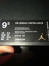 Nike Air Jordan Retro 11 Low IE Fire Red White Gym Red Black 919712 101 Size 9.5