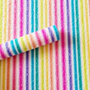 A4 Bright Rainbow Stripe Glitter Fabric Sheet for hair bow making, crafts