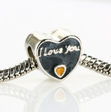I Love You Heart Gold Enamel Spacer Glamour Bead Fit 925 Silver Charms Bracelet