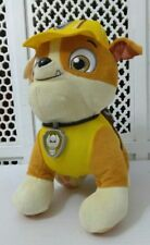 """NICKELODEON  PAW PATROL 11"""" TALKING RUBBLE Plush Dog Toy Lights up REAL VOICE"""
