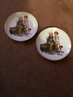 """2"" Vintage ""Norman Rockwell"" Plates, ""The Cobbler"" From 1984 And Made In Japan"