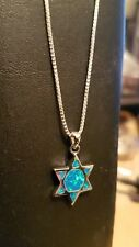 OPAL STAR OF DAVID  NECKLACE PENDANT sterling silver Gift Chunukah