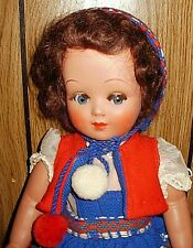 Vintage 1950s Unica Belgium doll, 17-in, all original, flirty eyes, nice!