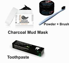 Coconut Charcoal Facial Mud Mask + Charcoal Powder + Charcoal Toothpaste