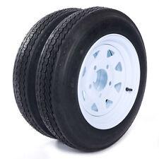"(2) Trailer Tires & Rims 4.80-12 480-12 4.80 X 12 12"" 5 Lug Wheel White Spoke"