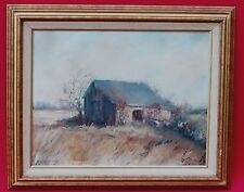 PLAINS LANDSCAPE PAINTING OLD BARN w PEOPLE SIGNED J McCONLOGUE MC CONLOGUE 1991