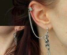 Punk Rock Skull Chain Tassel Dangle Ear Stud Cuff Wrap Earrings Eardrop Gift P29