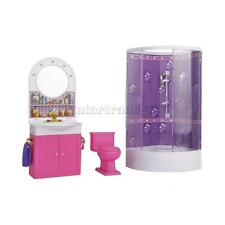 Dollhouse Bathroom Furniture With Shower Play Sets for Barbie Dolls Gift