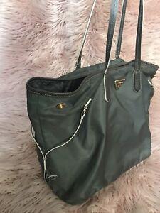 Authentic Prada Greens Nylon Tote Bag.