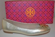 NEW Tory Burch CLAIRE Ballerina Ballet Flat Shoe Metallic Spark GOLD Leather S 9