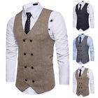 New Men Retro Fit Waistcoat Mans Formal Vest Elegant Gentlemen Sleeveless Jacket